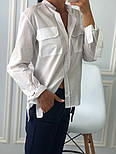 Женская белая рубашка с накладными карманами, фото 2