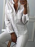 Женская белая рубашка с накладными карманами, фото 3