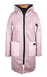 Женское демисезонное пальто с капюшоном 42-50 пудра