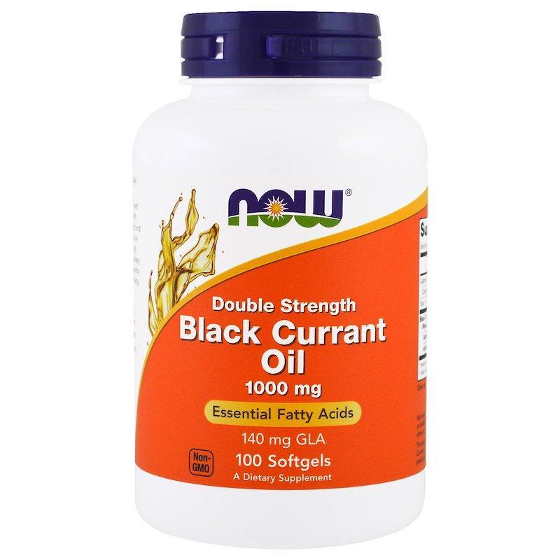 "Масло чёрной смородины NOW Foods ""Black Currant Oil"" 1000 мг, двойная концентрация (100 гелевых капсул)"