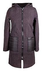 Демисезонные пальто женское с капюшоном  42-50 черный