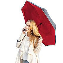 Ветрозащитный зонт обратного сложения Up-Brella красный. Зонт наоборот (обратный зонт, антизонт)., фото 3
