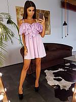 Светло-сиреневое  платье мини с воланами, фото 1