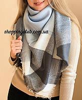 Теплый шарф-платок голубой в клетку