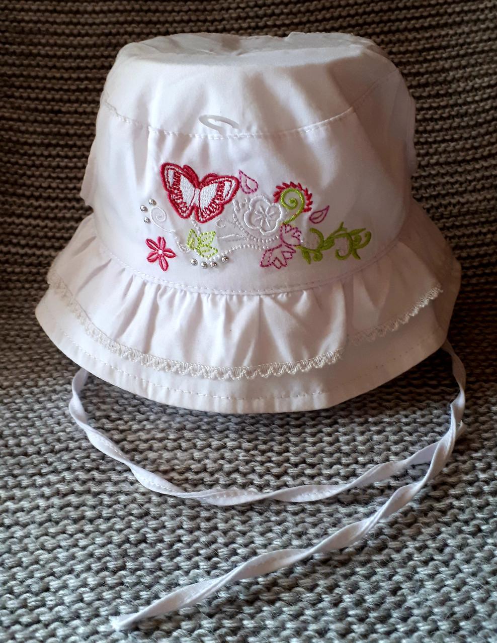 Панамка на девочку на завязках лето белого цвета (Польша) размер 46