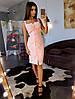 Розовое платье декорированное ажурной отделкой