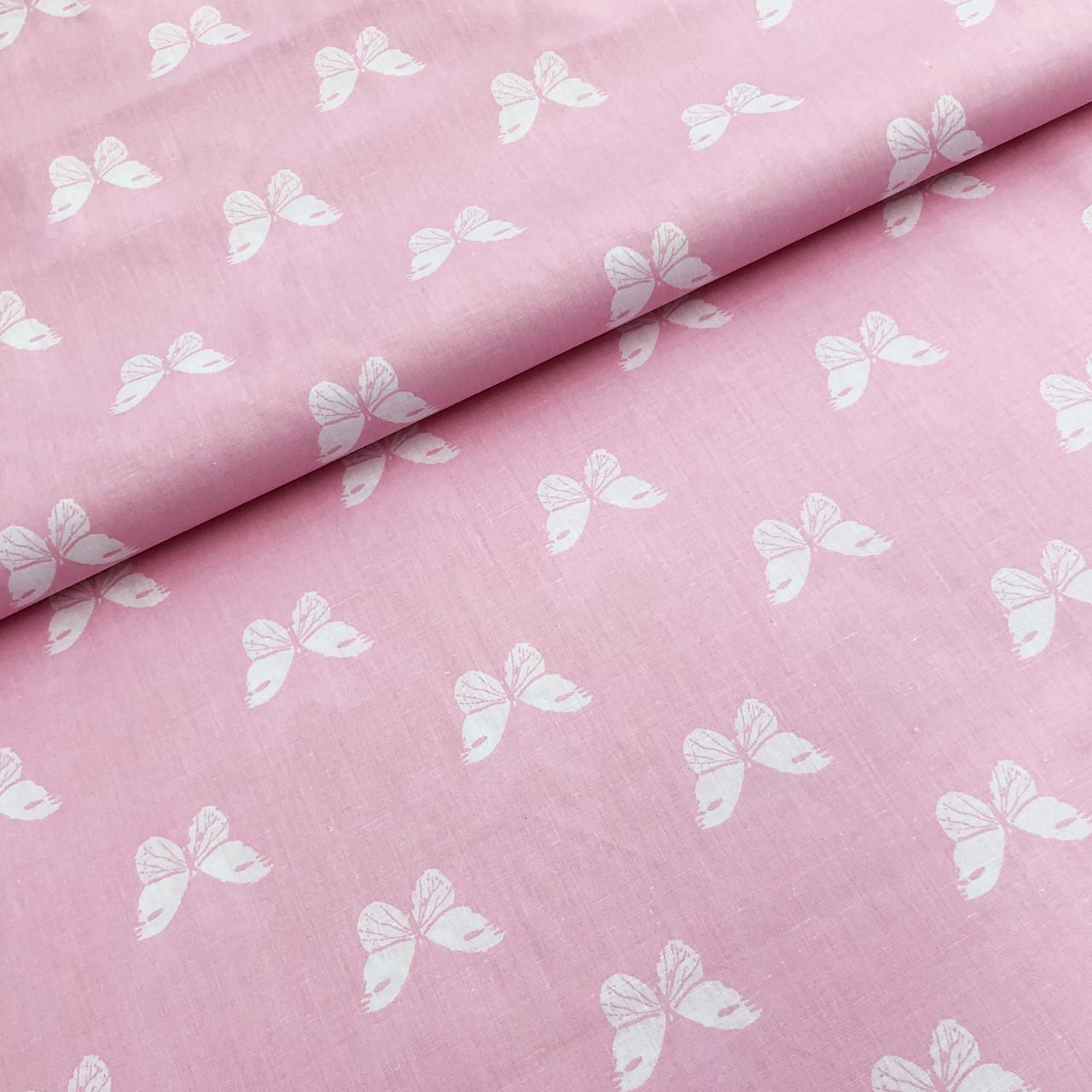 """Бязь Gold хлопковая """"бабочки белые на розовом"""" 220см"""