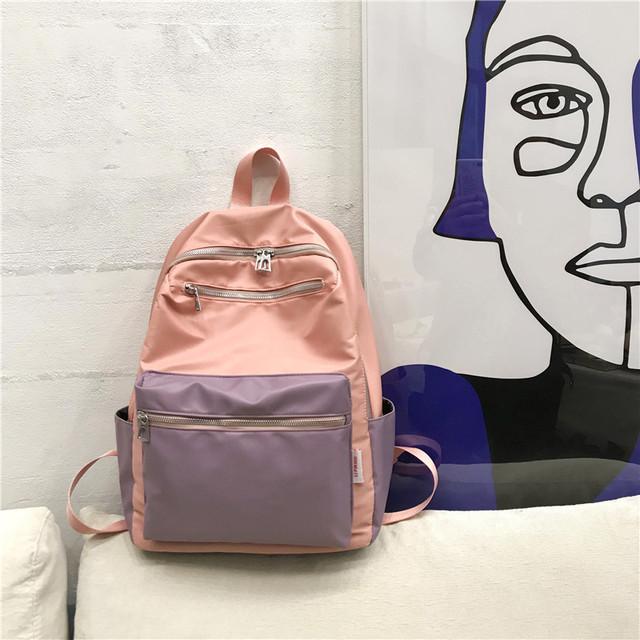 Нейлоновый рюкзак для девушки розовый