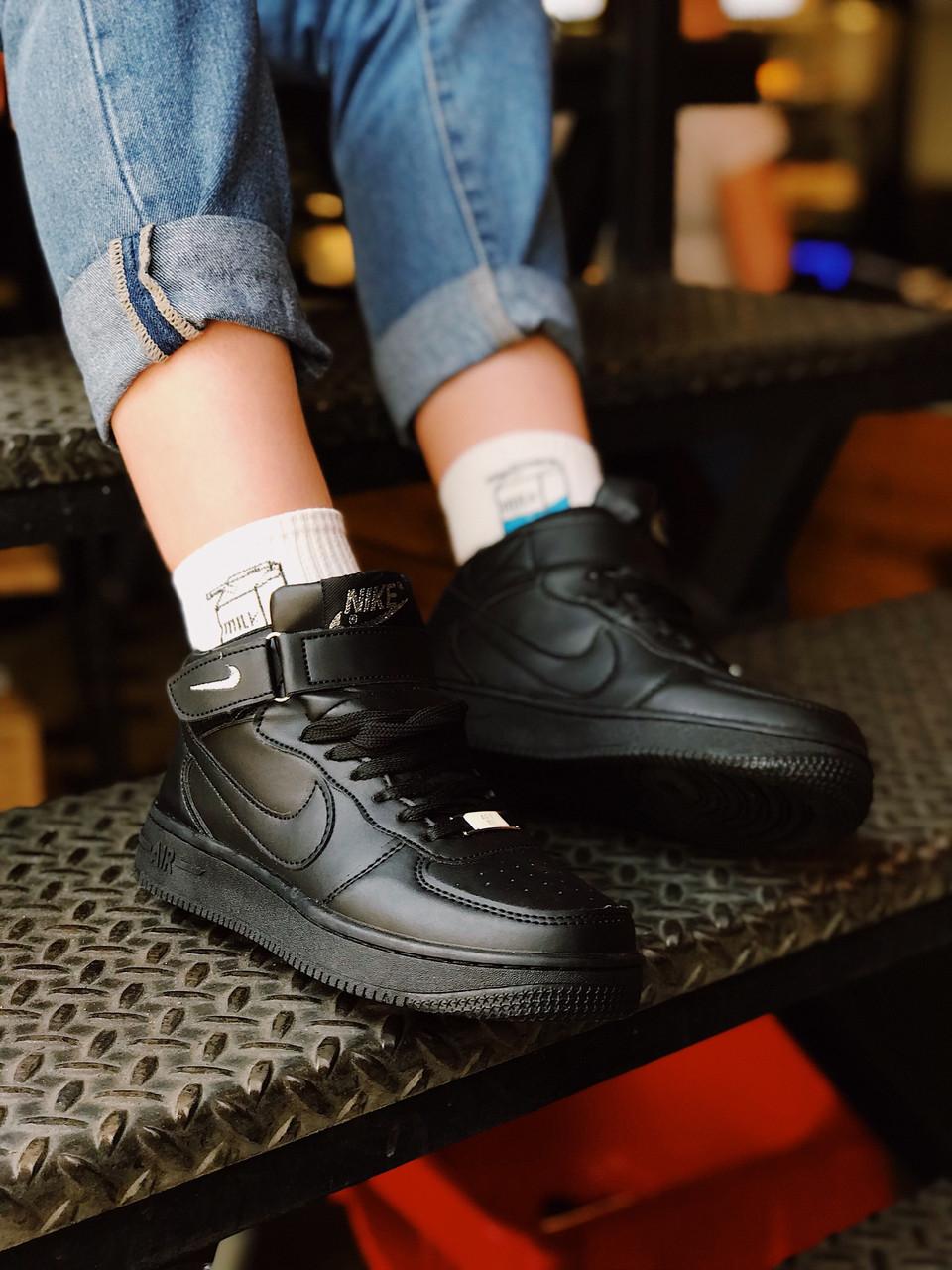 Женские кроссовкиNike Air Force женская обувь черные кроссовки найк