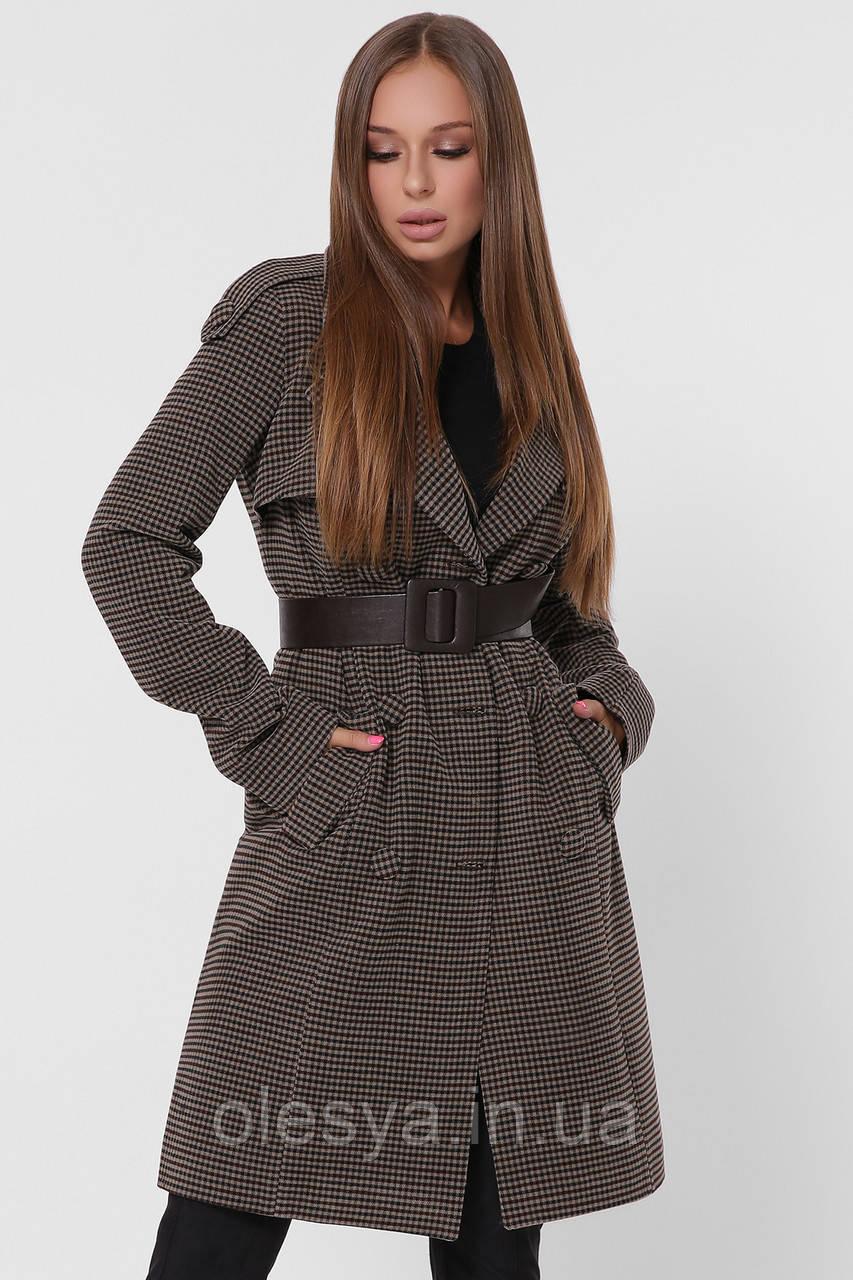 Двубортное женское пальто в мелкую клетку тм X-Woyz  размер 44