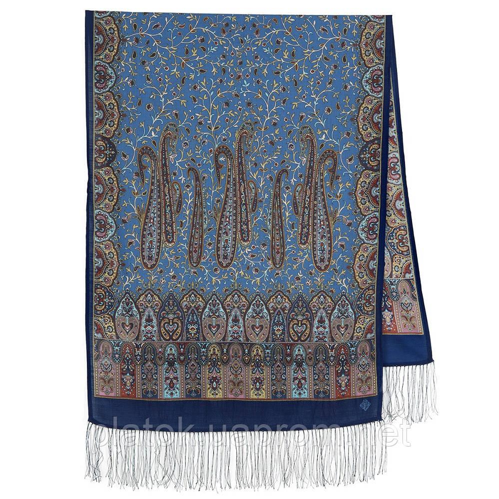 Медея 1473-64, павлопосадский шарф шерстяной  с шелковой бахромой