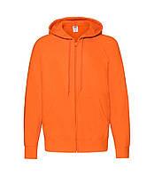 Мужская легкая толстовка с капюшоном на молнии оранжевая 144-44