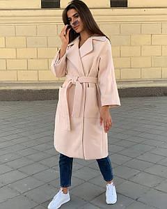 Женское демисезонное кашемировое пальто на запах
