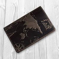 """Оригинальная кожаная коричневая обложка для паспорта с художественным тиснением """"7 wonders of the world"""", фото 1"""
