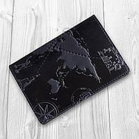 Синяя обложка для паспорта ручной работы с художественным тиснением, фото 1
