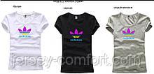 Футболка женская трикотаж с лого Adidas. Разные цвета