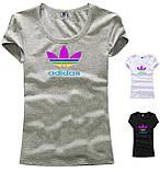 Футболка женская трикотаж с лого Adidas. Разные цвета, фото 2