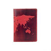 """Красная дизайнерская кожаная обложка для паспорта, коллекция """"World Map"""", фото 1"""
