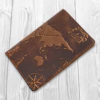 """Янтарна дизайнерська обкладинка на паспорт ручної роботи з художнім тисненням і відділенням для банківських карт, колекція """"7 wonders of the world"""", фото 1"""