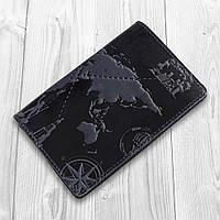 Синяя обложка для паспорта ручной работы с художественным тиснением и отделением для банковских карт, фото 1