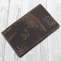 """Оригинальная кожаная коричневая обложка для паспорта с отделом для ID документов и художественным тиснением """"7 wonders of the world"""", фото 1"""