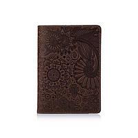 """Оригинальная кожаная коричневая обложка для паспорта с художественным тиснением """"Mehendi Art"""", фото 1"""