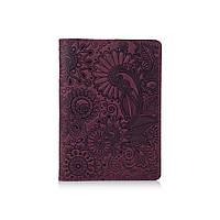 """Фіолетова дизайнерська шкіряна обкладинка для паспорта, колекція """"Mehendi Art"""", фото 1"""