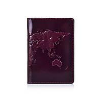 Оригинальная фиолетовая дизайнерская кожаная обложка для паспорта ручной работы, фото 1