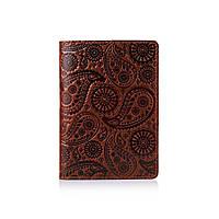 Оригинальная дизайнерская кожаная обложка для паспорта ручной работы коньячного цвета, фото 1