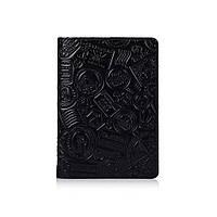 """Оригинальная кожаная обложка для паспорта черного цвета с художественным тиснением """"Let's Go Travel"""", фото 1"""