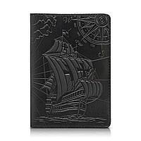 """Дизайнерская кожаная обложка для паспорта черного цвета, коллекция """"Discoveries"""", фото 1"""