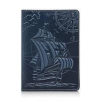 """Дизайнерская кожаная обложка для паспорта голубого цвета, коллекция """"Discoveries"""", фото 1"""