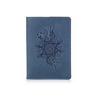 """Дизайнерская кожаная обложка для паспорта голубого цвета, коллекция """"Mehendi Classic"""", фото 1"""