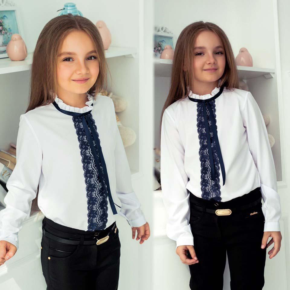 """Детская школьная блузка для девочек 488 """"Воротничок Рюши Кружево Контраст"""""""