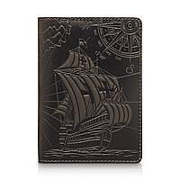 Оригинальная кожаная зеленая обложка для паспорта с художественным тиснением и отделением под банковские карты, фото 1