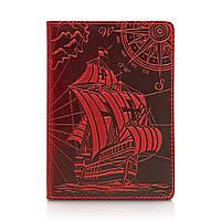 """Червона дизайнерська шкіряна обкладинка для паспорта з відділенням для карт, колекція """"Discoveries"""", фото 1"""