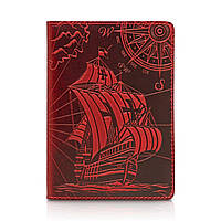 """Красная дизайнерская кожаная обложка для паспорта с отделением для карт, коллекция """"Discoveries"""", фото 1"""
