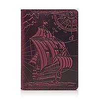 """Фиолетовая дизайнерская кожаная обложка для паспорта с отделением для карт, коллекция """"Discoveries"""", фото 1"""