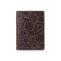 Обложка для паспорта оливкового цвета с натуральной матовой кожи с художественным тиснением, фото 1