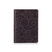 """Оригинальная кожаная коричневая обложка для паспорта с художественным тиснением """"Buta Art"""", фото 1"""