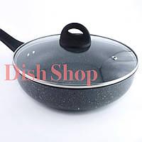 Сковорода с крышкой глубокая диаметром 28 см с гранитным антипригарным покрытием Benson