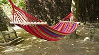Подвесной гамак из 100% хлопка для отдыха на свежем воздухе с деревянной основой, 200х100 - Жми КУПИТЬ!
