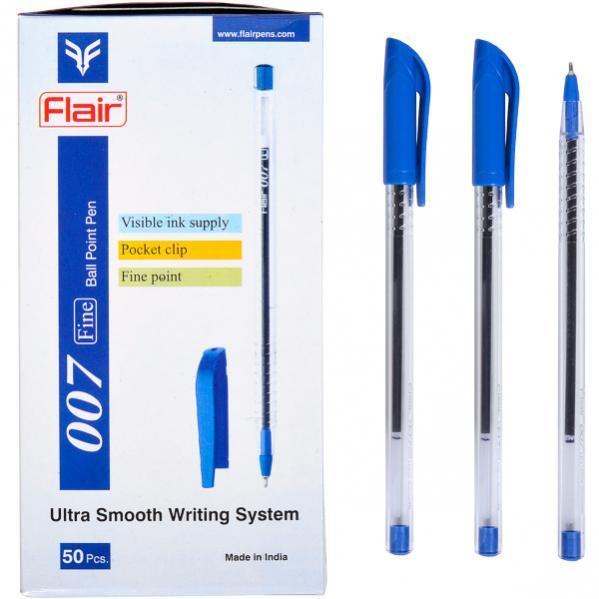 Ручка шариковая синяя 007 Ultra прозрачная