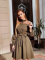Платье на пуговицах со вставкой из сетки в горох
