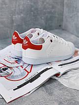 Женские кроссовки Adidas Stan Smith Red женская обувь кроссовки адидас стен смит белые с красным., фото 3