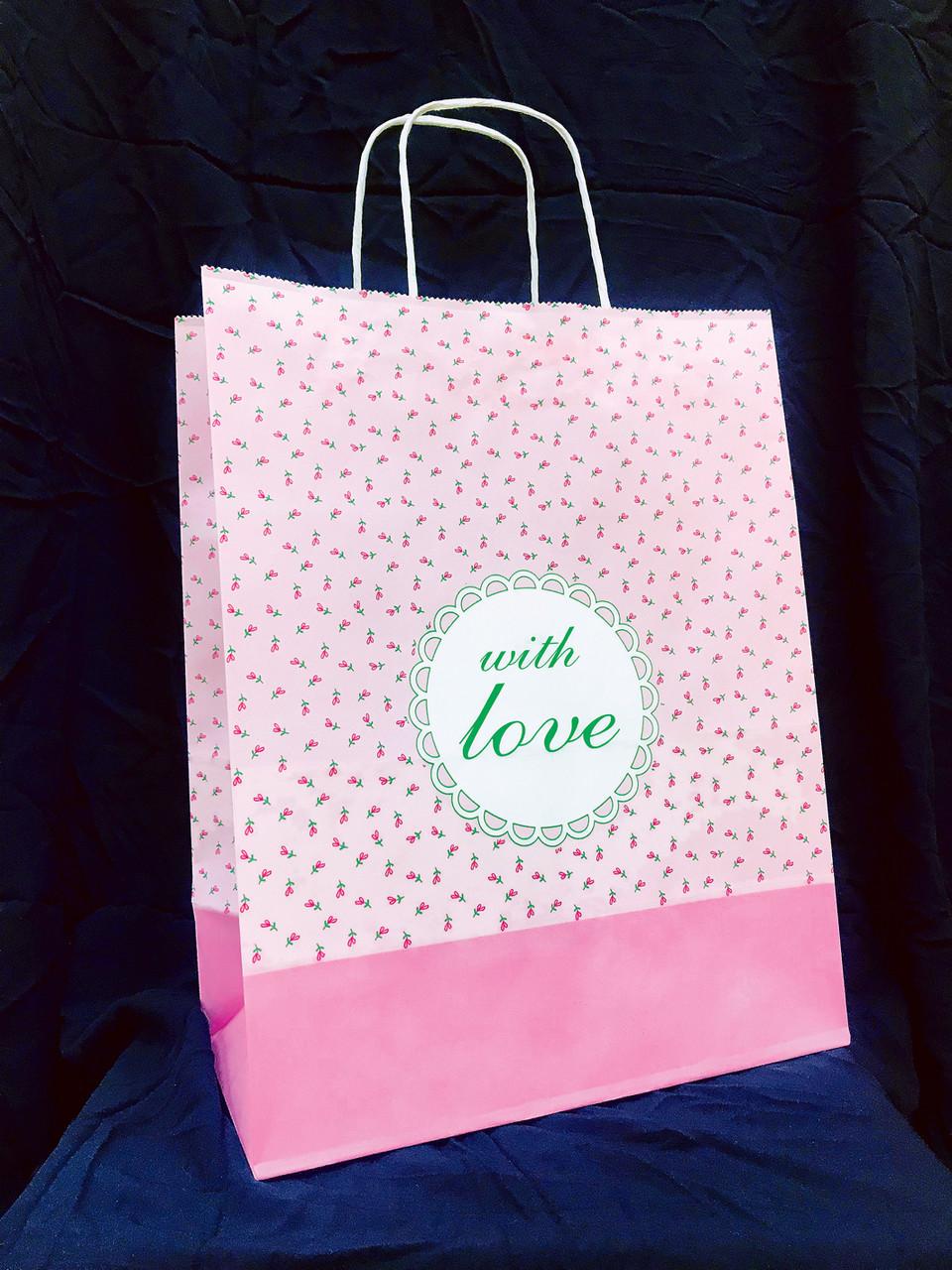"""Бумажный подарочный пакет с кручеными ручками """"Цветочек Любовь"""" 335х260х140"""