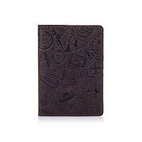 """Оригинальная кожаная коричневая обложка для паспорта с художественным тиснением """"Let's Go Travel"""", фото 1"""