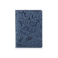 """Дизайнерская кожаная обложка для паспорта голубого цвета, коллекция """"Let's Go Travel"""", фото 1"""
