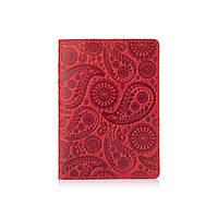 """Красная дизайнерская кожаная обложка для паспорта с отделением для карт, коллекция """"Buta Art"""", фото 1"""