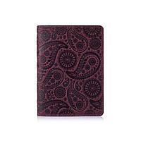 """Фиолетовая дизайнерская кожаная обложка для паспорта с отделением для карт, коллекция """"Buta Art"""", фото 1"""